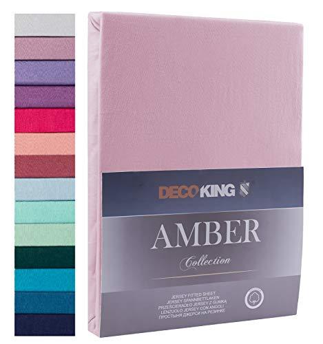 DecoKing, lenzuola con angoli, in 100% jersey di cotone, collezione White Amber, Cotone, Colori dell'erica, 200x220 - 220x240 Amber