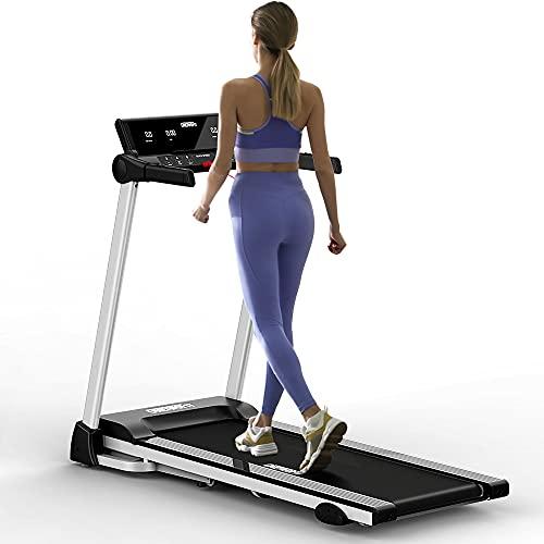 ONETWOFIT Klappbares Laufband, 3 einstellbare Steigungen Laufband mit 40 x 120 cm Laufband, 2,5 PS-Motor 0,8-12 km/h Laufband mit LED Anzeige für Home Fitness Training Indoor OT312