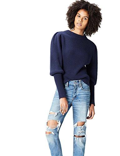 Amazon-Marke: find. Pullover Damen gerippt mit Ballonärmeln, Blau (Navy), 34, Label: XS