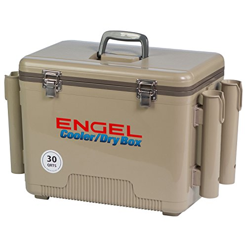 ENGEL Cooler/Dry Box with 4 Rod Holders - 30 Qt - Tan (UC30T-RH)