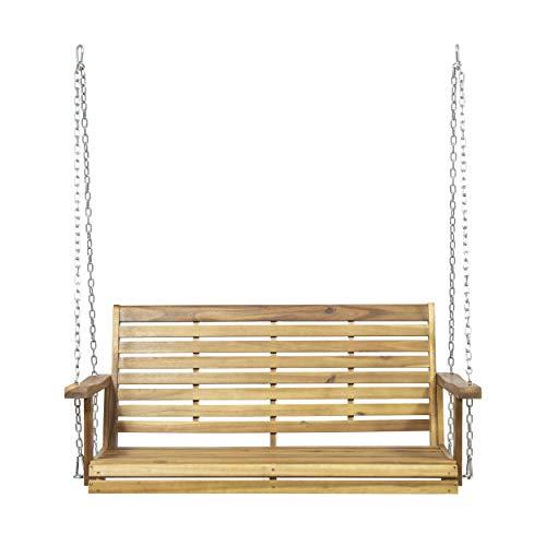 Great Deal Furniture Viola Outdoor Aacia Wood Porch Swing, Teak