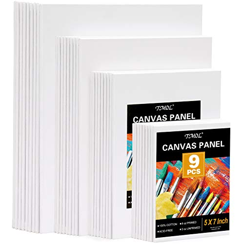 """Painting Canvas Panels Multi Pack- 5x7"""",8x10"""",9x12"""",11x14"""" (9 of Each),Set of 36, Artist Canvas Boards for Painting,Primed White Canvas,for Acrylic,Oil Paint,Wet or Dry Art Media"""