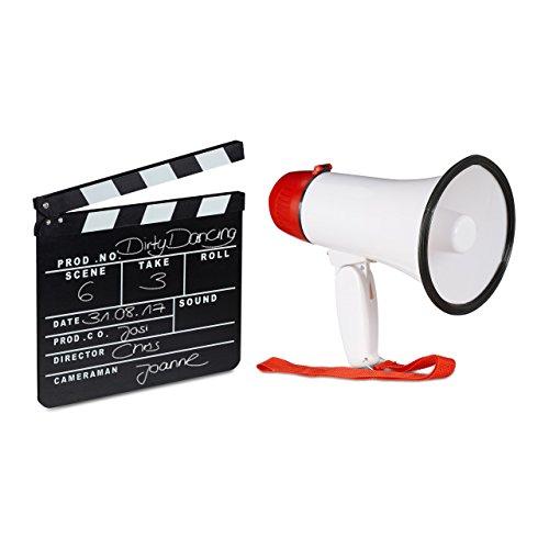 relaxdays 2 TLG Filmset, Megafon Stadion, Filmklappe schwarz, Flüstertüte 10 Watt, Regieklappe Holz, Megaphon Ole Sound, Clapboard