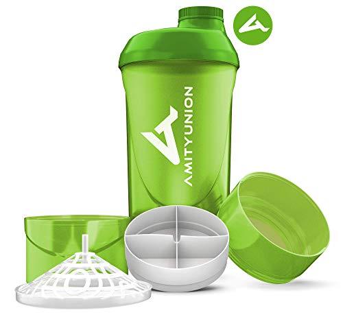 AMITYUNION Protein Shaker Deluxe 700 ml - Eiweiß Shaker auslaufsicher, BPA frei - Sieb & Skala für Cremige Whey Proteinpulver Shakes - Fitness Becher für Isolate & Sport Konzentrate in Grün Cup