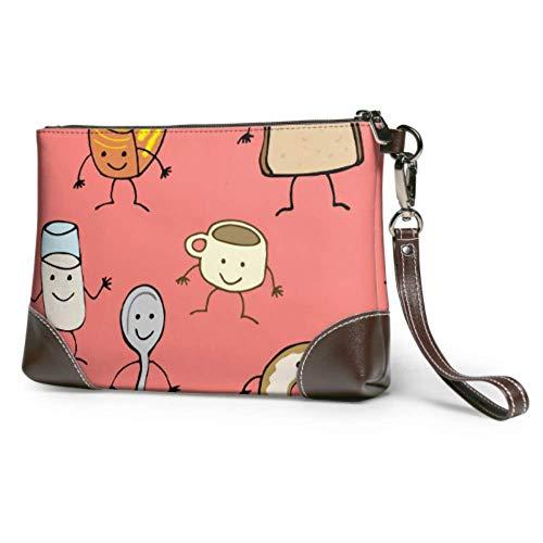 Hdadwy Weiche wasserdichte Geldbörse Clutch Bag Set Lustige Milch Kaffee Tee Tasse Leder Brieftasche Wristlet Mit Reißverschluss Für Frauen Mädchen