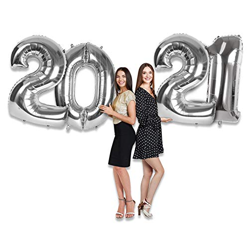 2021 Silver Foil Number Balloons 40 Inch 2021 Number Balloons Silver Big Sign for New Years EVE Party 2021 Graduation Decorations