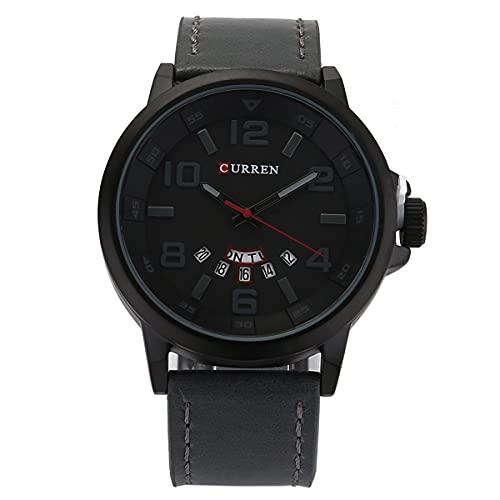 KDMB Reloj de Moda Curren 8240 para Hombre, Deportivo, Impermeable, Calendario, analógico, Informal, con Fecha, Semana, Reloj de Pulsera (Negro + café)