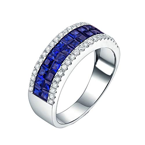 ButiRest 18K Gold Ring, 18 Carat 750 White Gold Square Cut 1.56ct Blue Sapphire VVS and 0.25ct Diamond silver
