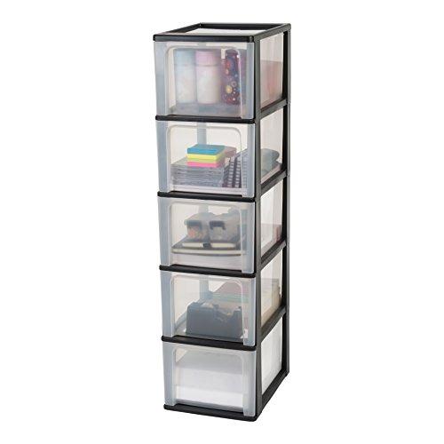 Iris Ohyama, Schubladenschrank / Schubladencontainer - Organizer Chest OCH-2500 - plastik, schwarz, 5 x 13 L, L35,5 x B26 x H99,5 cm