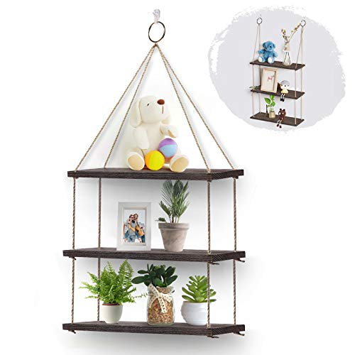 AGSIVO Set of 3 Floating Shelves with String, Hanging Shelf Wall Mounted Jute Rope, Rustic Wood Wall Shelve Swing Shelf Picture Ledge Home Storage Organizer Wall Decor for Bedroom Living Room Bathroom