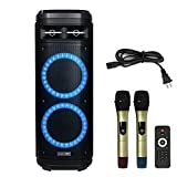 STARQUEEN Karaoke Speaker for Adults Karaoke Machine with Dual 10 inch Woofer Colorful DJ Lights 2 Wireless Microphone Perfect for Party Speech Class