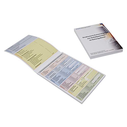 DIN A6 Block zur Dokumentation der Erstversorgung von Notfallpatienten im Rettungsdienst mit Schema: SICK-ABCDE, SAMPLER(S), OPQRST, IPPAF (3)