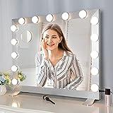Espejo de Maquillaje con Pantalla Táctil con 3 Modos de Color y Brillo Ajustable,Gran Espejo de Cortesía Hollywood con 15 Bombillas LED y Lupa de 10 Aumentos.(Plata)