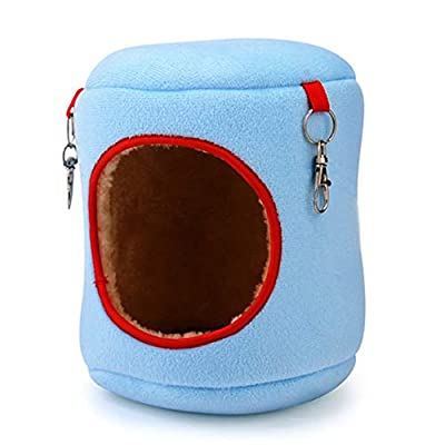 Sunnyflowk Warm Bed Rat Hammock Squirrel Winter Toys Pet Hamster Cage Durable Hanging Nest Toy Comfortable Pet Supplies (blue(9 * 9 * 10cm)) from Sunnyflowk
