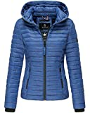 Marikoo Damen Jacke Steppjacke Übergangsjacke mit Kapuze gesteppt B600 (L, Royalblau)