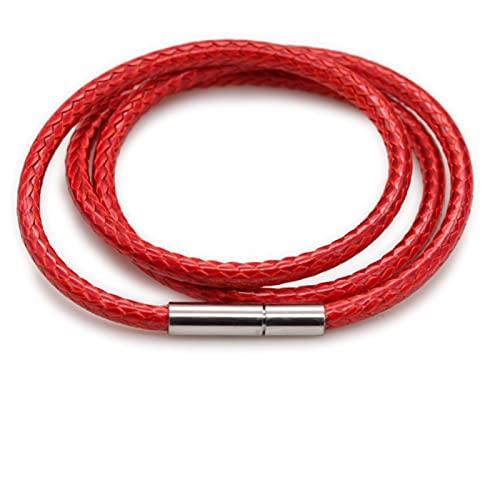 ASQZX Extensor de Cadena Collar Cadena de Encaje de Cuerda de Cuerda con Hebilla giratoria, Adecuado para Hacer Joyas Black y Rojo marrón Bricolaje Pulsera Extensor