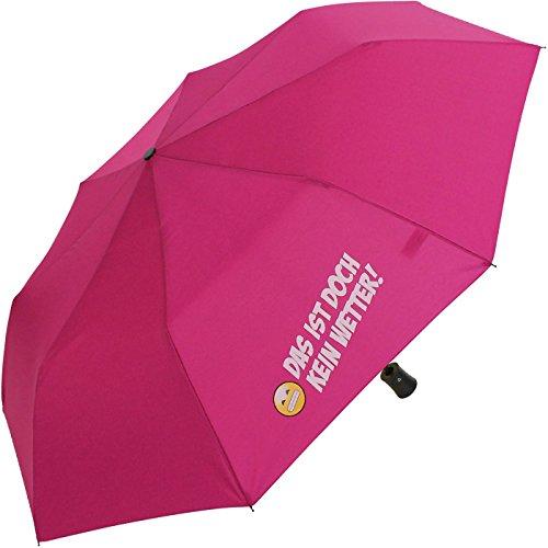Mini Taschenschirm stabil Auf-Automatik Bedruckt Das ist doch kein Wetter! - pink