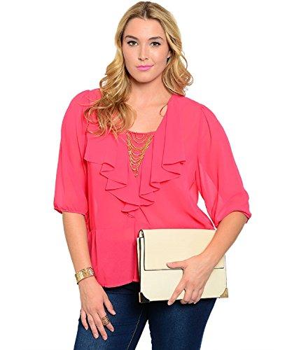 C.O.C.. Women Sheer Top Pink Ruffled Embellished Waterfall Neckline ¾ Sleeves...  via @amazon