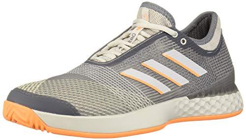 adidas Men's Adizero Ubersonic 3 Tennis Shoe, Grey/Flash Orange, 14 M US