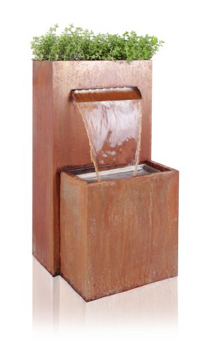 Primrose Halton Corten Steel Waterfall Cascade Planter with LED Lights