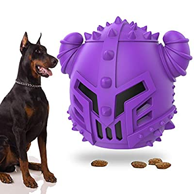 EZSMART Dog Treat Dispensing Toy, Interactive Dog Toys Teething Tough Chew Toys to Stop Boredom & Teeth Cleaning - Cool Dog Treat Ball for Medium Small Dogs - Milk Flavor