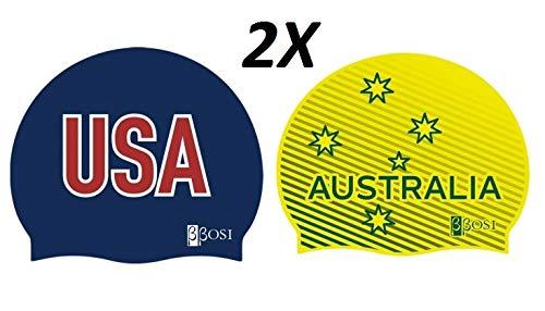 Bbosi 2x1 Cuffie Nuoto Silicona da Piscina USA Australia Unisex Uomo e Donna Prima qualità Nuoto