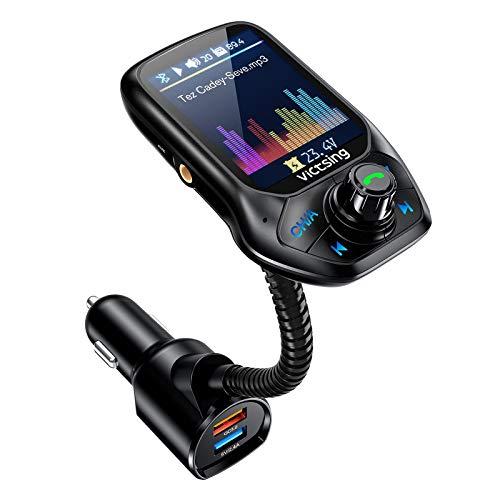 """【Nouveau】 VicTsing Transmetteur FM Bluetooth, Adaptateur Voiture Avec Réglage Automatique De FM Fréquence, 3 USB Inclus QC3.0 Charge Rapide, 1.8"""" Ecran Couleur Mains Libre, MP3 Mode Aléatoire"""