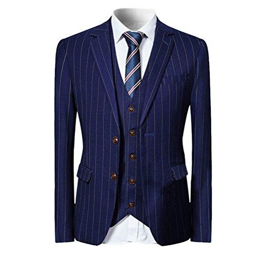 [YFFUSHI] スーツ メンス スリーピース 2つボタン ストライプ チェック XS-5XL おしゃれ