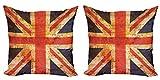 ABAKUHAUS Inglaterra Set de 2 Fundas para Cojín, Union Jack del Grunge Adorno, con Estampado en Ambos Lados con Cremallera, 60 cm x 60 cm, Azul Noche Vermilion