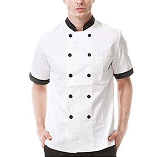WMOFC Kochjacke,Kurzarm Chef Jacke Uniform Baumwolle Küche Hotel Kochkleidung Herren Und Damen Berufsbekleidung Bäckerjacke,Men,M
