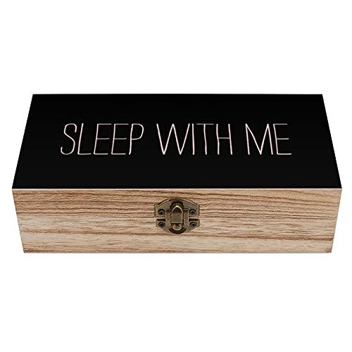 Elegante caja de madera moderna con diseño de niña rosa y negro Sleep With Me, caja de regalo para el hogar, caja de regalo, caja de té de almacenamiento de 7.9 x 3.7 x 2.3 pulgadas