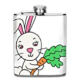 Zcfhike Jacket Pocket Flask Cute Adorable Rabbit Bunny with Carrot Easter Water Pot Rum Container Flask Pocket for Adults