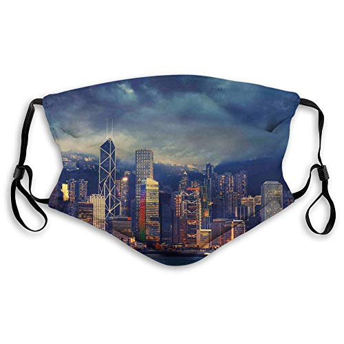 MundschutzMundAnti-Staub-Abdeckung,Hong Kong Cityscape Stormy Weather Dark Cloudy Sky Waterfront Port Dramatic View,MouthCverWiederverwendbareFack-Abdeckung M