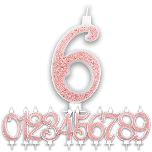 Large Birthday Candles Pink Gold Glitter | Brilliant Numbers for Cake Party Birthday Girl | Decorations Candles Topper Greeting Anniversary Cake | Height 13 CM (Number 6)