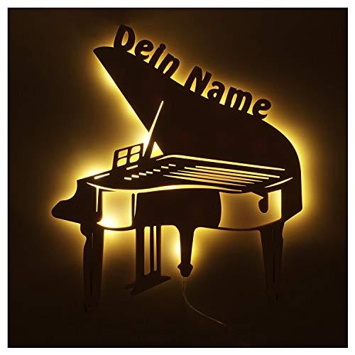 Musiker Geschenke Klavier Piano mit Namen personalisiert I Led Deko Licht Batteriebetrieben