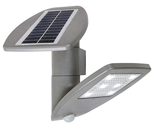 """'lutec Solar lámpara de pared""""Zeta con panel solar y detector de movimiento, 2,4W, 200lm, IP44, silberfarbig P 9011SI"""