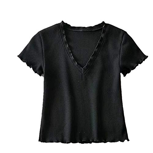 NOBRAND - Camiseta de manga corta con cuello en V para mujer Negro Negro ( S