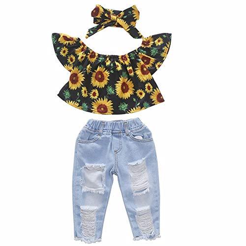BAOBAOLAI Roupas para bebês meninas Girassol com babados Blusas de manga com calças jeans 3 peças Roupas de verão