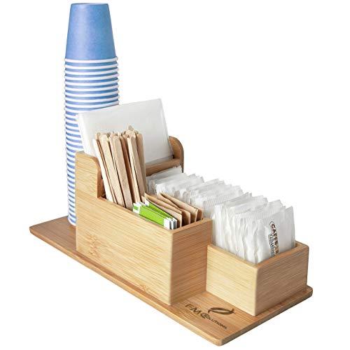 FMC SOLUTION Porta Accessori da caffè e Tea in bambù per Zucchero in Bustine, Palette, Bicchieri e Tovagliolini di Carta - Organizer da Tavolo con Piedini Antiscivolo per Casa e Ufficio