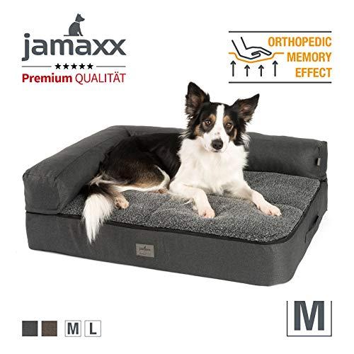 JAMAXX Premium 4-in-1 Hunde-Sofa - Orthopädische Couch mit Memory Visco Schaumstoff, abnehmbare Polster, Extra-Dicke Polsterung, Wechsel-Bezug, Waschbar, PDB3015 (M) 90x70 anthrazit