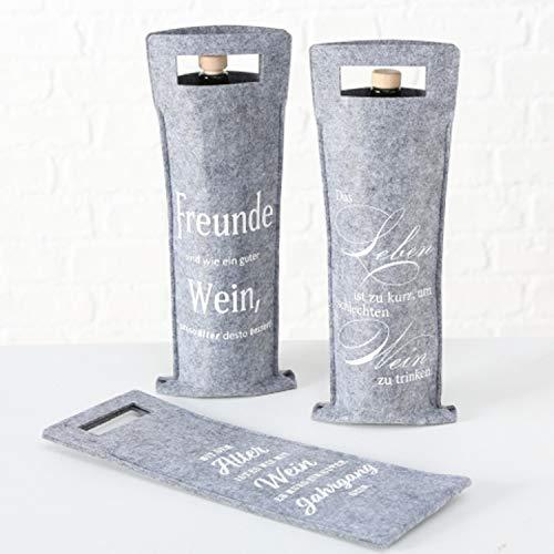 Boltze 3 x Weintasche für Weinflasche Geschenkverpackung Rotger Filz grau Höhe 41 cm