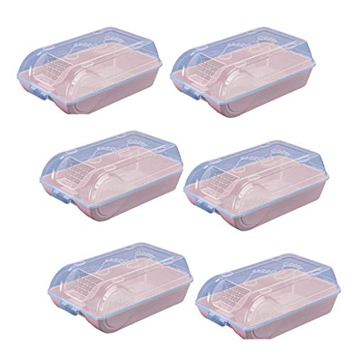 Los libros para niños caja de zapatos de plástico, organizador de pilas de caja de almacenamiento de zapatos deportivos de estilo transparente que se puede guardar en el armario de entrada con asa 6PCS rosa