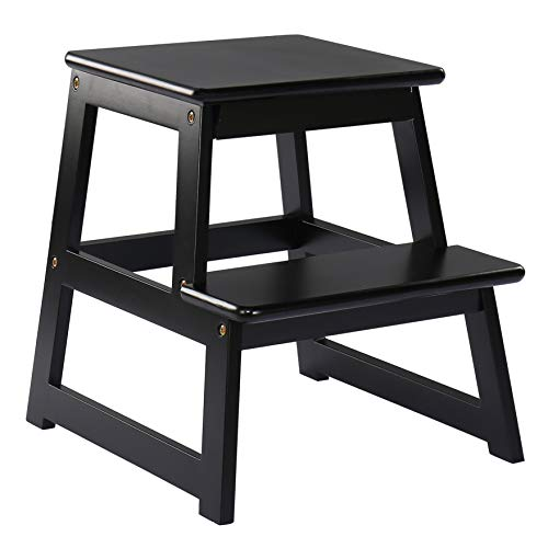 SDADI Kids Solid Wood Step Stool with NonSlip Stickers 300Pound Capacity Black
