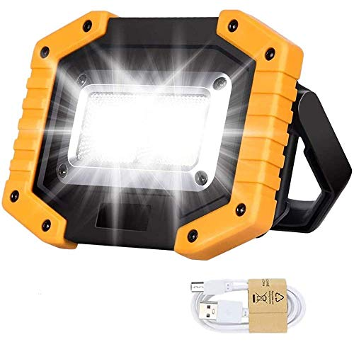 SLKIJDHFB LED Flutlicht Wiederaufladbar Arbeitsscheinwerfer Tragbar 30W mit USB Strahler Wasserdicht Outdoor für Autoreparatur Angeln Camping Wandern Notfall Sicherheitslichter 3 Modi