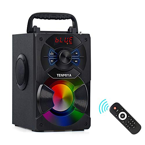 TENMIYA A13 Portable Bluetooth Speaker with Subwoofer, FM Radio, Colorful LED Lights Wireless Stereo Rich Bass Speakers Outdoor/Indoor Party Speaker Support Remote Control for Home, Travel, Camping