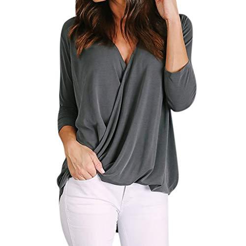 Lazzboy Frauen Solide Casual V-Ausschnitt Tops Büro Damen Langarm T-Shirt Bluse Chiffon Oberteil Shirt Hemd Lose Asymmetrisch(Dunkelgrau,M)