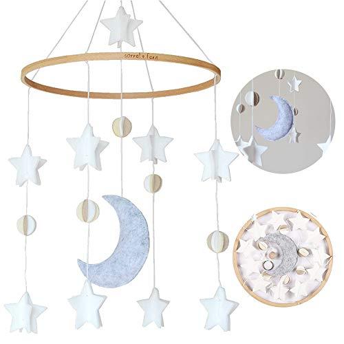 Bettglocke, Baby Windspiel Junge, Baby Windspiel, Mobile für Babybett, Mobile Krippe, Krippe Mobile für Jungen und Mädchen (Stern Mond)