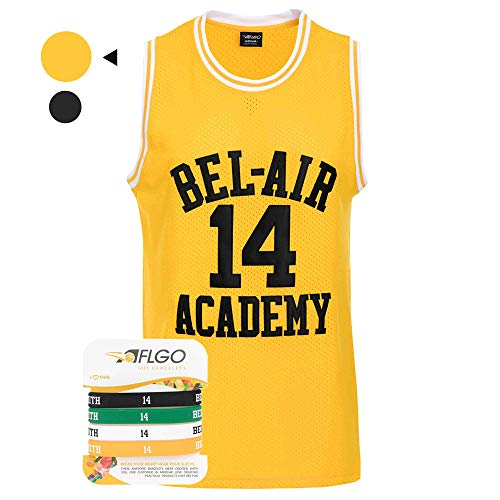 AFLGO Smith #14 Bel Air Fresh Prince Academy Hip Hop Basketball Genähtes Trikot, Herren, gelb, Medium
