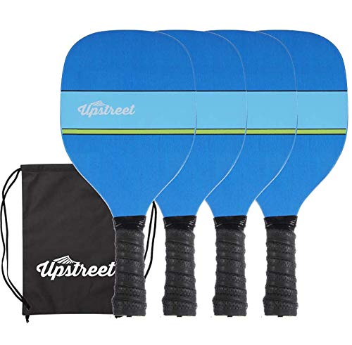 Upstreet Wood Pickleball Set by 7 ply Maple Construction   Micro-Dry Racket Grip   Bundle Includes Paddle Carrying Bag