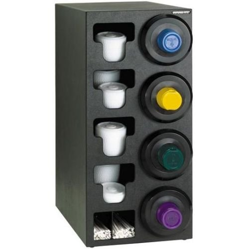 Dispense-Rite SLR-C-4RBT Countertop Cup Dispensing Cabinet with (4) SLR-2F Built-in Lid and Straw Organizer, Black Polystyrene